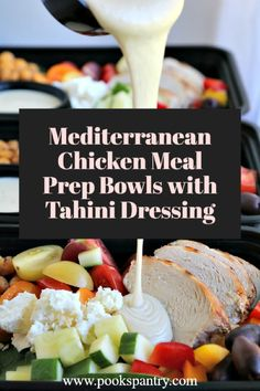 Mediterranean chicken meal prep bowls are a tasty way to stay on track and eat a nutritious, flavorful lunch. #mediterraneanchicken #mediterraneanmealprep #mealprep #mediterraneanbowls #pookspantry Low Carb Dinner Recipes, Vegetarian Recipes Dinner, Delicious Dinner Recipes, Easy Mediterranean Recipes, Mediterranean Chicken, Best Chicken Recipes, Turkey Recipes, Sweet N Sour Chicken, Tahini Dressing
