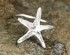Starfish Stacking Ring Nautical Jewelry Beach by BwaveJewelry