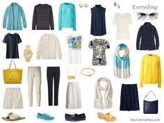 Accessories: Navy, Beige, Turquoise and Yellow, 1 at a Time; change out yellow for CORAL. I like this ivory AND NAVY base for summer.