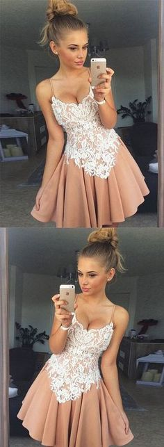 Cute lace A line short prom dress, homecoming dress – trendty