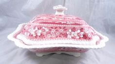 """Copeland Spode Tower Red-Pink Covered Vegetable Serving Bowl, 11¼"""" x 9¼"""" x 5"""" high. $139.99 at catscatscats on ebay, 8/16/15"""