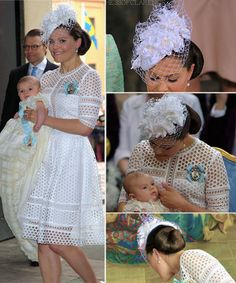 """hrhtheduchessofclarence: """"♕ ROYAL FASHION Prince Oscar's Christening Ceremony ♕ Crown Princess Victoria • By Malina Emily Midi Dress •  Gianvito Rossi Pumps """""""