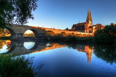 regensburg, germany- what an awesome shot of golden light and deep blue hues
