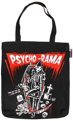 Psycho Rama Dead Girl with Bloody Scythe Canvas Tote Bag from Sourpuss  Clothing 117820b1bf8fa
