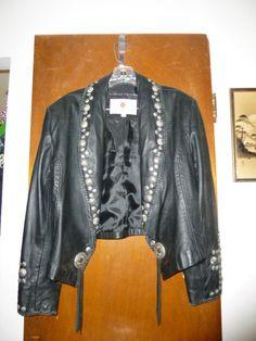 Womens Maverick Leather Western Cowgirl Studded Concho Embellished Jacket 12
