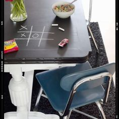 How fun is this? Paint your kitchen table top with chalkboard paint!