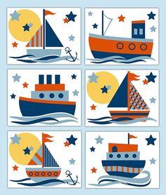 Nautical Sailboat Prints Wall Art Baby Boy Nursery Ship Sailing Boat Room Decor for sale online Baby Boy Room Decor, Baby Room Art, Baby Shower Decorations For Boys, Baby Wall Art, Sailing Decor, Sailboat Decor, Sailing Boat, Nursery Wall Decals Boy, Nursery Prints