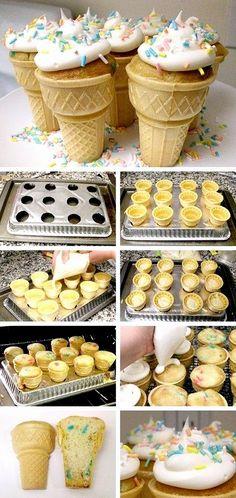 Bolinhos assados dentro da casquinha de sorvete. Aprenda a fazer essa nova tendência na confeitaria. Perfeito para festas infantis e ocasiões especiais.
