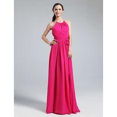 Floor-length Chiffon Bridesmaid Dress - Fuchsia Plus Sizes / Petite Sheath/Column Jewel – USD $ 74.24