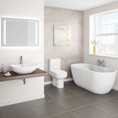 A beautiful modern bathroom can be achieved simply & affordably with our contemporary bathroom suites. Browse the wide range of modern bathroom suites with VP. Modern Baths, Modern Bathroom, Bathroom Ideas, Gray Bathrooms, Loft Bathroom, Bathroom Signs, Master Bathroom, Minimalist Bathroom Design, Scandinavian Bathroom
