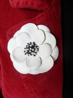 White leather flower pin  ivory