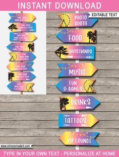 Music Festival Party Decorations New Ideas Coachella Party Decorations, Coachella Party Theme, Coachella Birthday, Festival Themed Party, Birthday Party Celebration, Bachelorette Party Games, Quinceanera Party, Party Signs, Party Printables