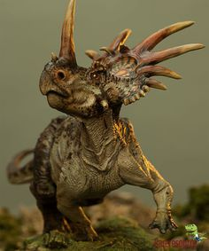"Styracosaurus (""spiked reptile"") was an herbivorous dinosaur from the Cretaceous period. It had six long horns extending from its neck frill, a smaller horn above each of its eyes, and a single horn protruding from its nose, It was a huge dinosaur, reaching lengths of 5 meters (18 feet) and weighing as much as 3 tons.  To know more about them visit : http://www.rareresource.com/styracosaurus.htm"