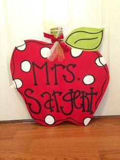 Red Apple key Door Hanger Wood Wreath Back to School Teacher Door Decor. WANT!!