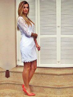 Sheath/Column Bateau Lace Short/Mini White Draped Cocktail Dress at simplydresses.co.nz