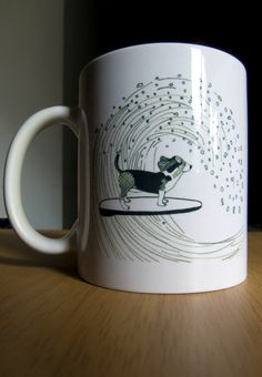 Basset Hound Dog Surfing on a Wave Mug by itllglowonyou on Etsy