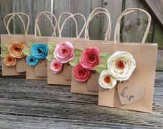 Kraft gift bags. Shabby chic. Paper flowers. Gift by kC2Designs
