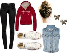 Denim Jacket + Hoodie + Black Skinny Jeans + Converse + Bow Earrings + Braided Bun = Perfection !