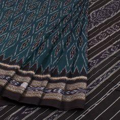 Buy online Handwoven Sambalpuri Ikat Cotton Saree With Temple Border & Without Blouse 10021094 Saris, Geometric Designs, Cotton Saree, Indian Sarees, Floral Motif, Ikat, Temple, Hand Weaving, Blouse