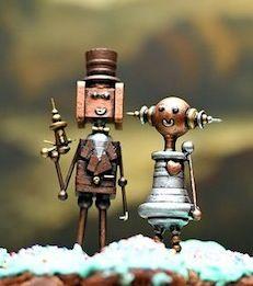 Steampunk wedding topper.