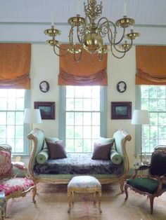 Pistachio And Mustard, Roman Shades, Robert Couturier ~ His Connecticut  Home French Interiors,