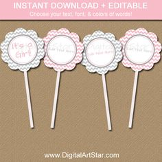 Pink and Gray Baby Shower Cupcake Toppers by digitalartstar