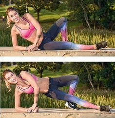 Prancha lateral com elevação de quadril Deitada e com as pernas flexionadas, eleve o tronco para um lado e levante os quadris na direção em que escolheu a elevação, como na foto. Faça o mesmo com o outro lado. Por que é bom: trabalha oblíquo do abdome, quadrado lombar, glúteos e ombros.