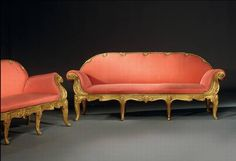 A PAIR OF ITALIAN GILTWOOD ROCOCO SETTEES CIRCA 1840, ROME