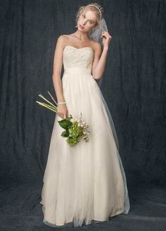 Team K`Mich: Vintage look: Strapless A Line Beaded Lace Tulle Gown - David's Bridal