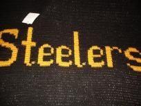 "Custom Designed Hand Crocheted Pittsburg Steelers Blanket. Size: 45""x 55"". Made with high quality yarn. Easy Care; Machine Wash & Dry. Won't Shrink, Fade, or Bleed. Professionally finished edges, made to last for generations. An exclusive designer..."