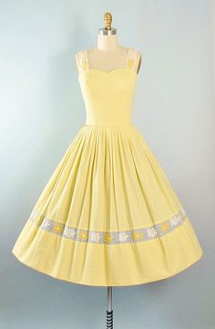 RESERVED 50s Dress / 1950s Yellow Gingham Cotton Sundress