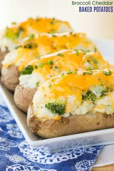 Broccoli Cheddar Baked Potatoes - if you love a classic baked potato, then these will be a new family favorite side dish. Twice baked potatoes are stuffed with broccoli and cheddar cheese. Baked Potato Broccoli Cheese, Brocoli And Cheese, Baked Potato Recipes, Broccoli Cheddar, Cheddar Cheese, Cheddar Potatoes, Cheese Recipes, Amazing Vegetarian Recipes, Healthy Recipes