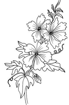 Magenta - Cling Rubber Stamp - Mallow Flowers