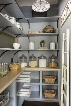 Modern French country house Blue pantry renovation with plenty of storage, wood shelving, and organized glass jars. - Own Kitchen Pantry Kitchen Pantry Design, Kitchen Organization Pantry, Kitchen Decor, Kitchen With Pantry, Ikea Pantry, Organization Ideas, Kitchen Ideas, Pantry Baskets, Pantry Diy