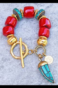 Bold Red Bamboo Coral, Turquoise and Gold Chunky Horn Statement Bracelet Big Jewelry, Turquoise Jewelry, Statement Jewelry, Coral Turquoise, Statement Bracelets, Jewelery, Modern Jewelry, Jewelry Rings, Jewelry Making