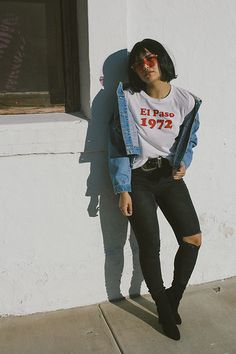 Get this look: http://lb.nu/look/8679753 More looks by Jazmine Liss: http://lb.nu/sheerstomping Items in this look: Unif Black Denim Jeans, Forever 21 Booties, Union Bay Union Bay Denim Jacket, 80s Purple Sunglasses #artistic #casual #street #vintage #denim #spring #thrift