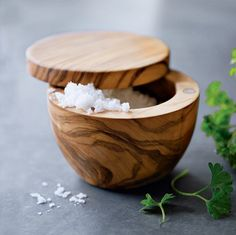 10 Salt Containers Worth Your Salt - Just bought a salt cellar at TJ Maxx for $5 and I love it.  Looks similar to the one in the picture.