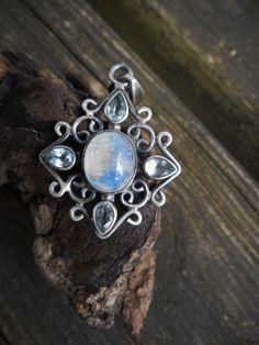 Rainbow moonstone necklacegemstone necklacemoonstone