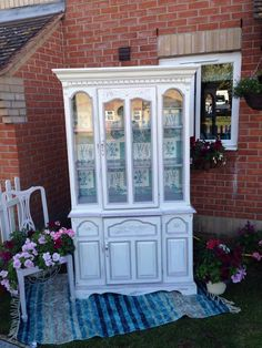 China Cabinet Painted by Skylar-Belle Painted Furniture. Painted in ASCP old white and Paloma, with feature paper for sale £245 Painted China Cabinets, Painting Cabinets, Painted Furniture, Paper, Home Decor, Decoration Home, Room Decor, Home Interior Design, Painting Cupboards