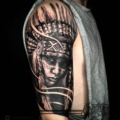 Indian girl tattoo by Sabian Ink