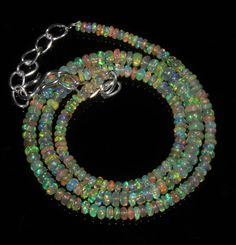 """40 Crts 1 Necklace 3to5mm 17"""" Beads Natural Ethiopian Welo Fire  Opal  60904"""
