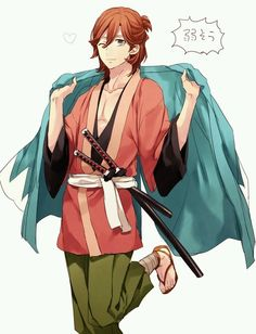 REIJI DRESSED UP AS OKITA SOUJI BECAUSE THEY HAVE THE SAME JAPANESE CV