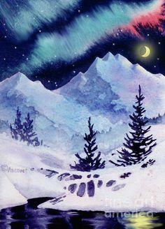 Midnight Aurora. watercolor/digital art by Teresa Ascone
