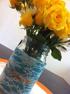 DIY Blue Burlap and Lace Mason Jar Vase: Perfect for Easter Brunch