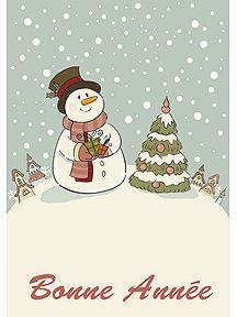 A imprimer, carte de vœux Nouvel An avec un bonhomme de neige à côté de son sapin.