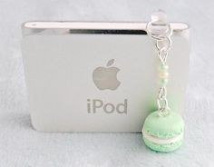 Green Macaron Dust Plug Charm, Phone Charm, For iPhone or iPod, Kitsch Tiny