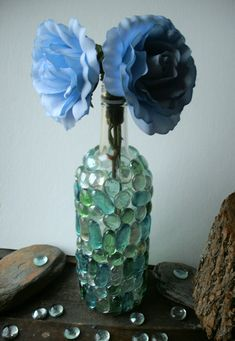 "Upcycle a wine bottle with glass ""gems"". Have a read of the blog that goes with this pic for some helpful comments."