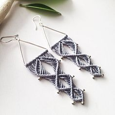 GRAY SQUARE macrame earrings. The size is 3,5 inch with earwire. Materials: gray nylon macrame cord 0,8 mm, sterling silver beads 1mm, sterling silver connector triangle. ✔️connector triangle was made by Balinese master by hands  ✔️fully handmade earrings are unique and limited