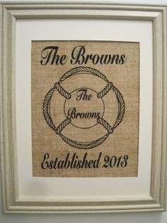 House Warming GiftBurlapLake House Burlap by SunBeamSigns on Etsy, $21.00