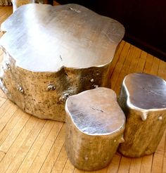 Silver painted tree trunk coffee and side tables or stools